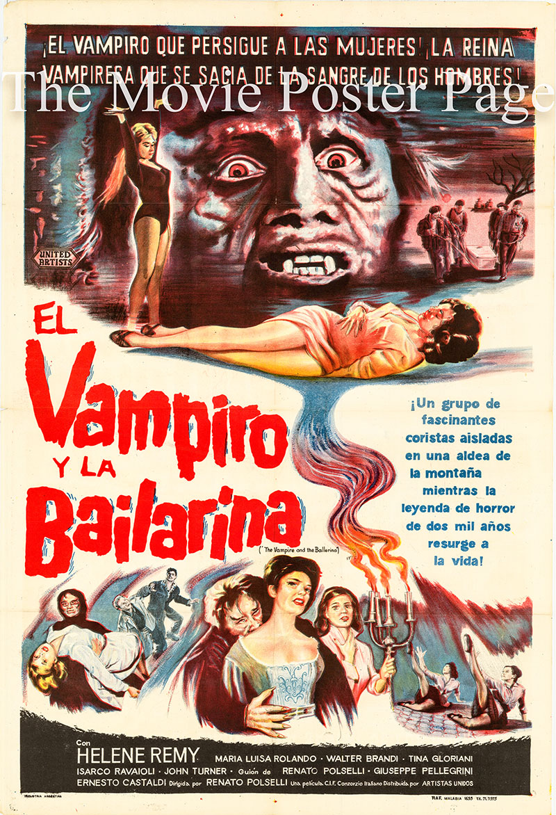 Pictured is an Argentine one-sheet poster for the 1960 Renato Polselli film The Vampire and the Ballerina starring Helene Remy as Luisa.