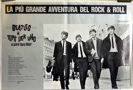 Pictured is an Italian promotional fotobusta poster for a 1984 rerelease of the 1964 Richard Lester film A Hard Days Night, starring the Beatles.