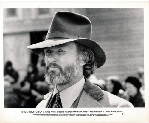 Pictured is a US promotional still photo from the 1980 Michael Cimino film Heaven's Gate starring Kris Kristofferson.