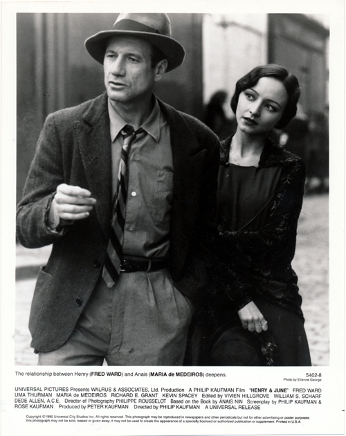 Pictured is a US promotional still photo from the 1990 Philip Kaufman film Henry & June starring Fred Ward as Henry Miller, Uma Thurman as June Miller and Maria de Medeiros as Anais Nin.