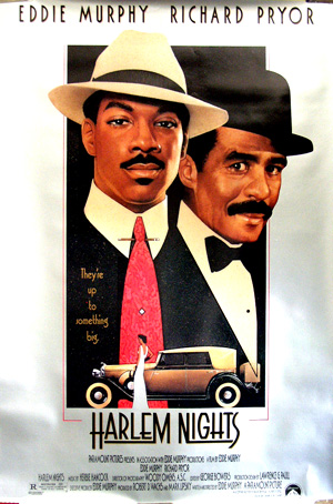 Pictured is a US promotional one-sheet poster for the 1989 Eddie Murphy film Harlem Nights starring Eddie Murphy and Richard Pryor.