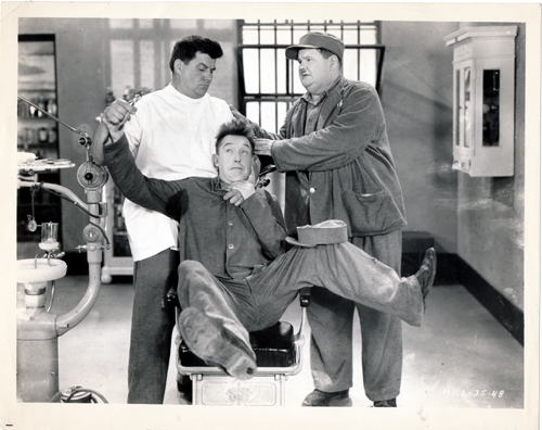 Pictured is a US promotional still photo from the 1931 James Parrott film Pardon Us starring Stan Laurel and Oliver Hardy.