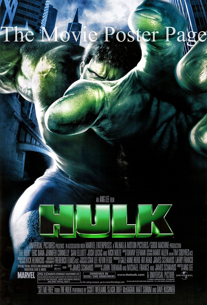 Pictured is a US double-sided one-sheet poster for the 2003 Ang Lee film <i>The Hulk</i> starring Eric Bana as The Hulk.