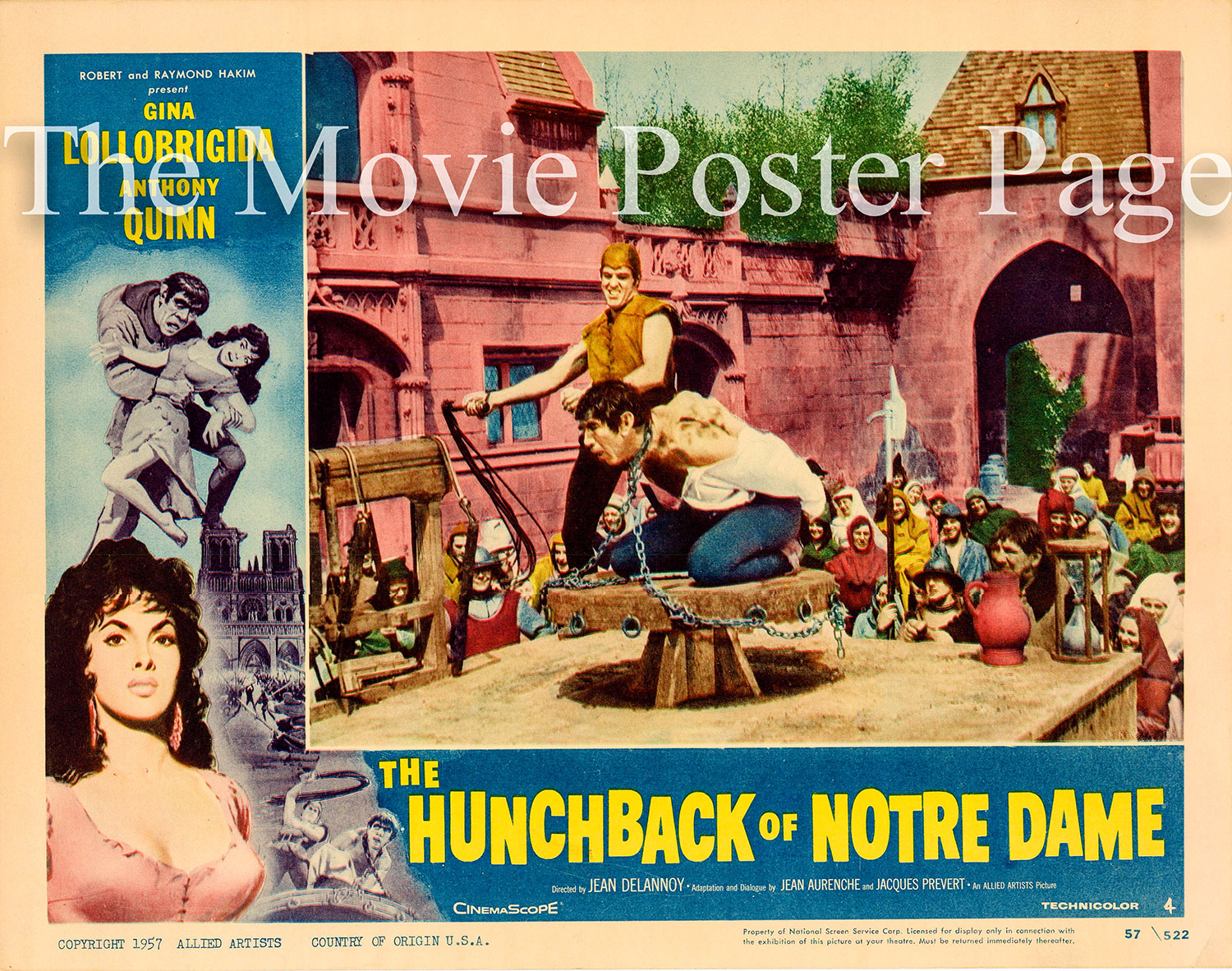 Pictured is a US promotional lobby card for the 1957 Jean Delannoy film The Hunchback of Notre Dame starring Anthony Quinn and Gina Lollobrigida.