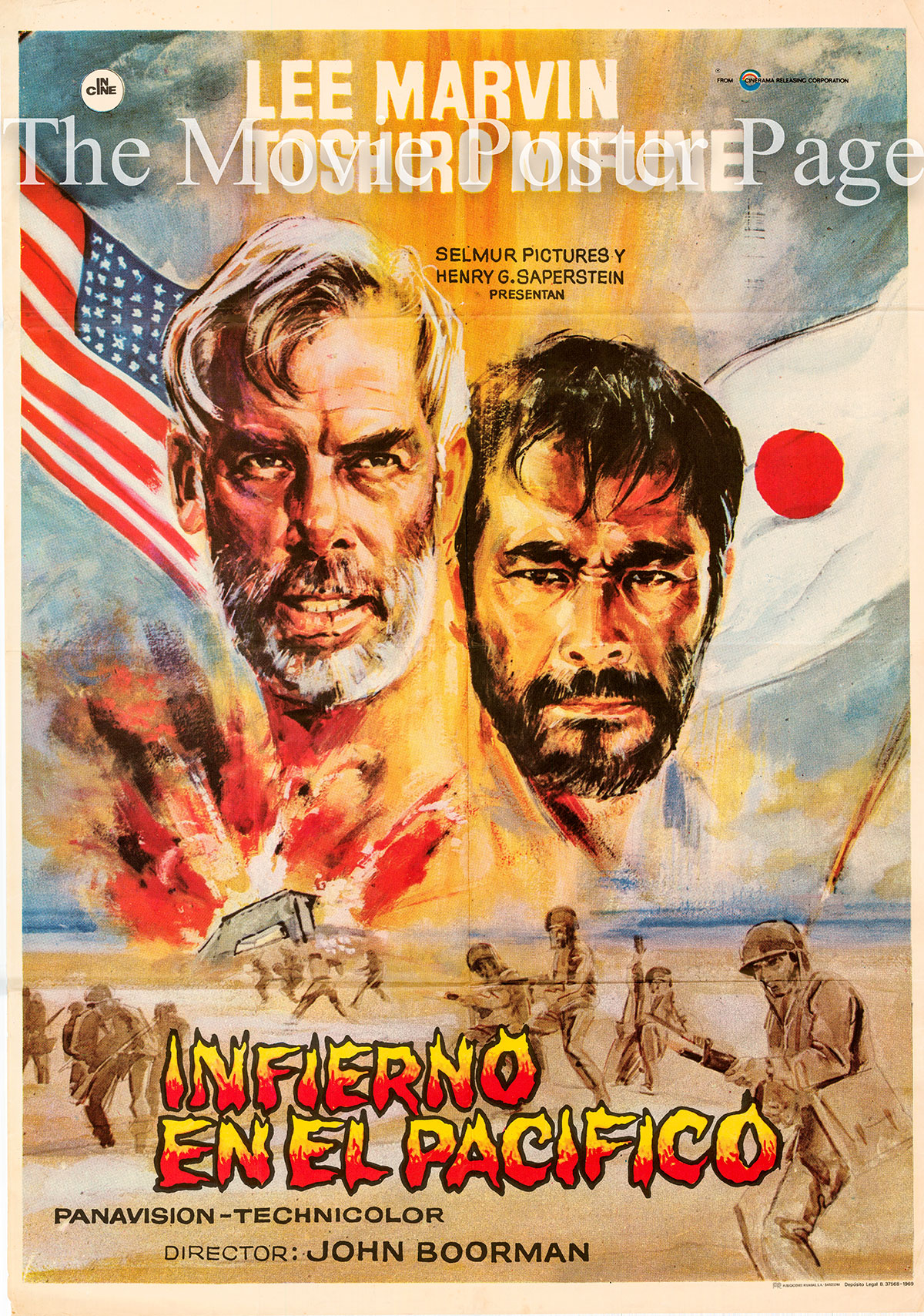 Pictured is a Spanish pormotional poster for the 1968 John Boorman film Hell in the Pacific starring Lee Marvin.