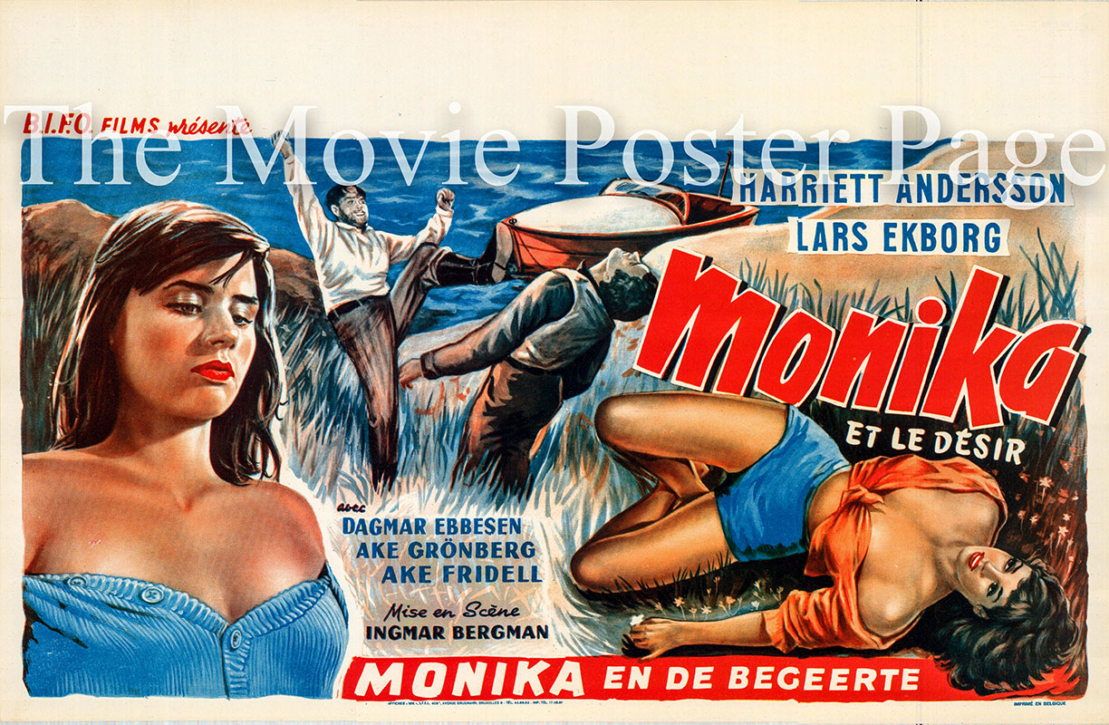 Pictured is a Belgian poster for the 1953 Ingmar Bergman film Summer with Monika starring Harriett Andersson.