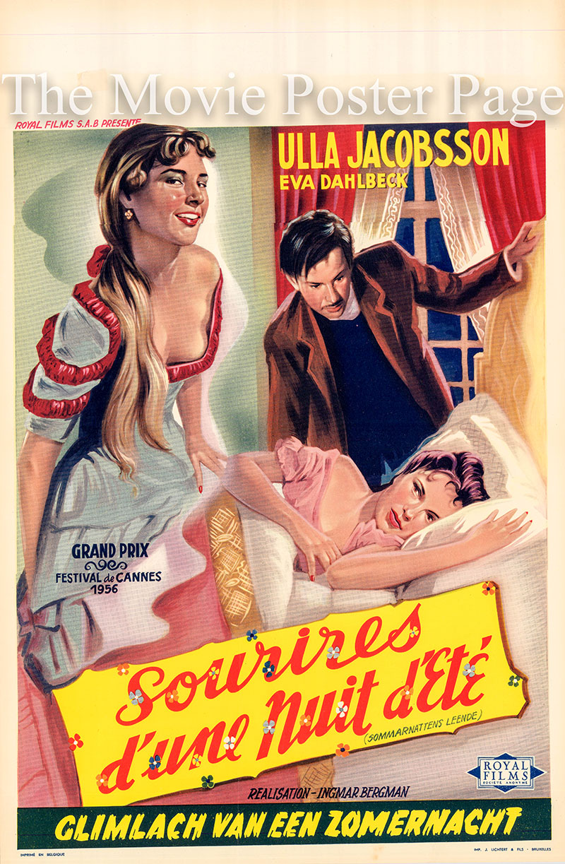 Pictured is a Belgian promotional poster for the 1955 Ingmar Bergman film Smiles of a Summer Night starring Ulla Jacobsson as Anne Egerman.
