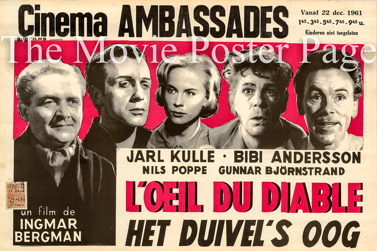 Pictured is a Belgian poster for the 1960 Ingmar Bergman film The Devi's Eye starring Jarl Kulle as Don Juan.