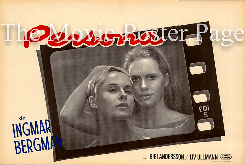 Pictured is a Belgian promotional poster for the 1966 Ingmar Bergman film Persona starring Bibi Andersson as Alma.