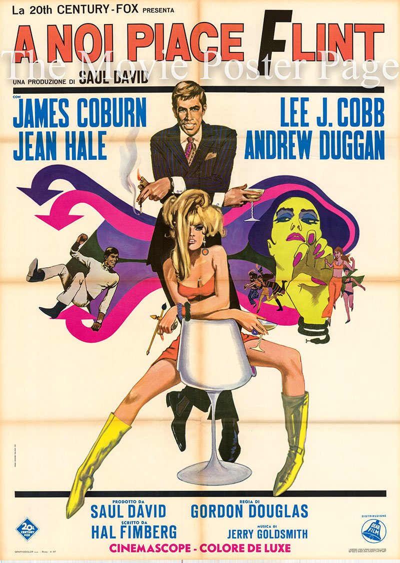 Pictured is an Italian two-sheet poster for the 1967 Gordon Douglas film In Like Fint starring James Coburn.