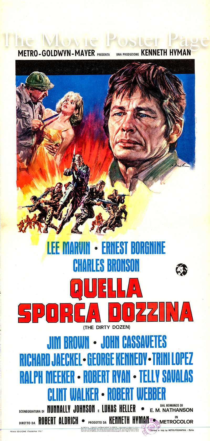 This is an Italian locandina poster for the 1967 Robert Aldrich film <i>The Dirty Dozen</i> starring Lee Marvin as Major John Reisman.