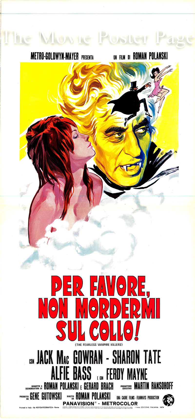 This is an Italian locandina poster for a 1977 rerelease of the 1967 Roman Polanski film <i>The Fearless Vampire Killers</i> starring Jack MacGowran as Professor Abronsius.