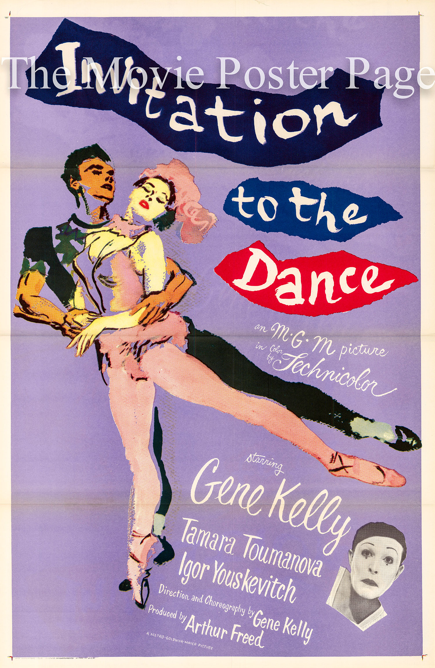 Pictured is a US promotional poster for the 1956 Gene Kelly film Invitation to the Dance starring Gene Kelly as the star dancer in three different stories.