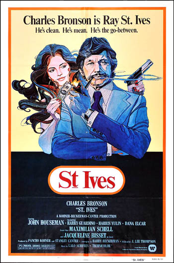 Pictured is a US one-sheet promotional poster for the 1976 J. Lee Thompson film St. Ives starring Charles Bronson.