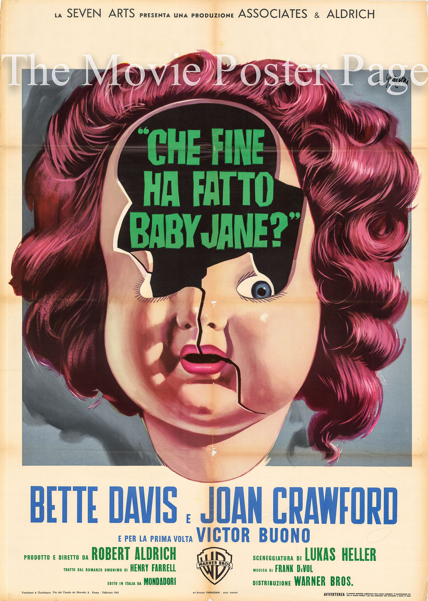 Pictured is an Italian two-sheet poster for the 1962 Robert Aldrich film <i>Whatever Happened to Baby Jane</i> starring Bette Davis as Baby Jane Hudson.