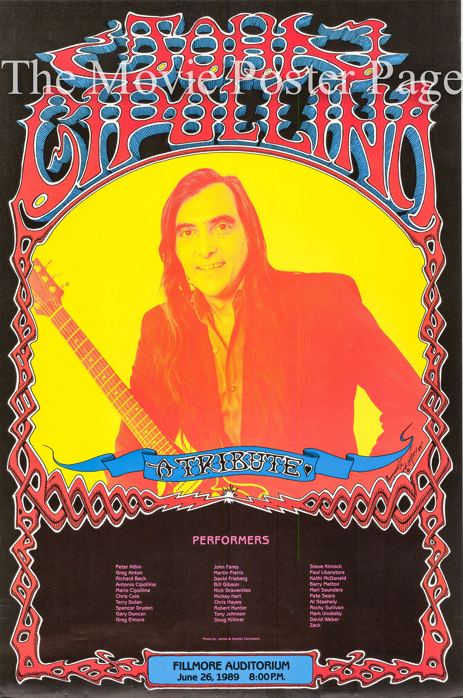 Pictured is a promotional poster for the June 26 1989 John Cippolina Tribute Concert at the Fillmore Auditorium.