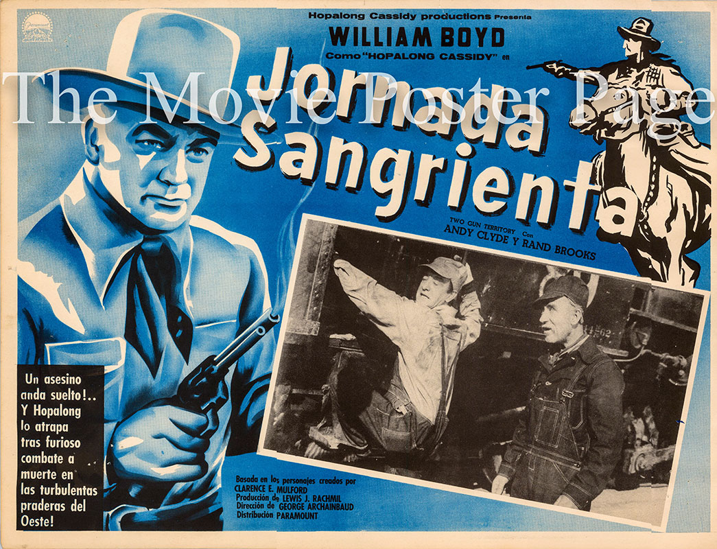 Pictured is a Mexican lobby card for the 1948 George Archainbaud film Sinister Journey starring William Boyd as Hopalong Cassidy.