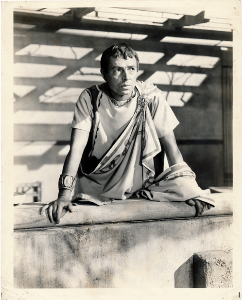 Pictured is a US promotional still photo from the 1953 Joseph L. Mankiewicz film Julius Caesar starring Marlon Brando, showing James Mason in his role as Brutus.