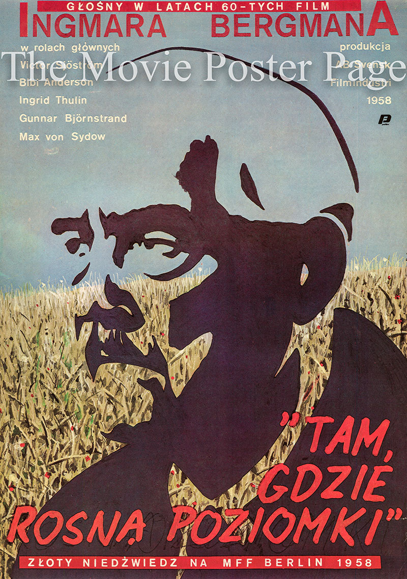 Pictured is a Polish poster for a 1980 rerelease of the 1957 Ingmar Bergman film Wild Strawberries starring Victor Sjostrom as Dr. Isak Borg.