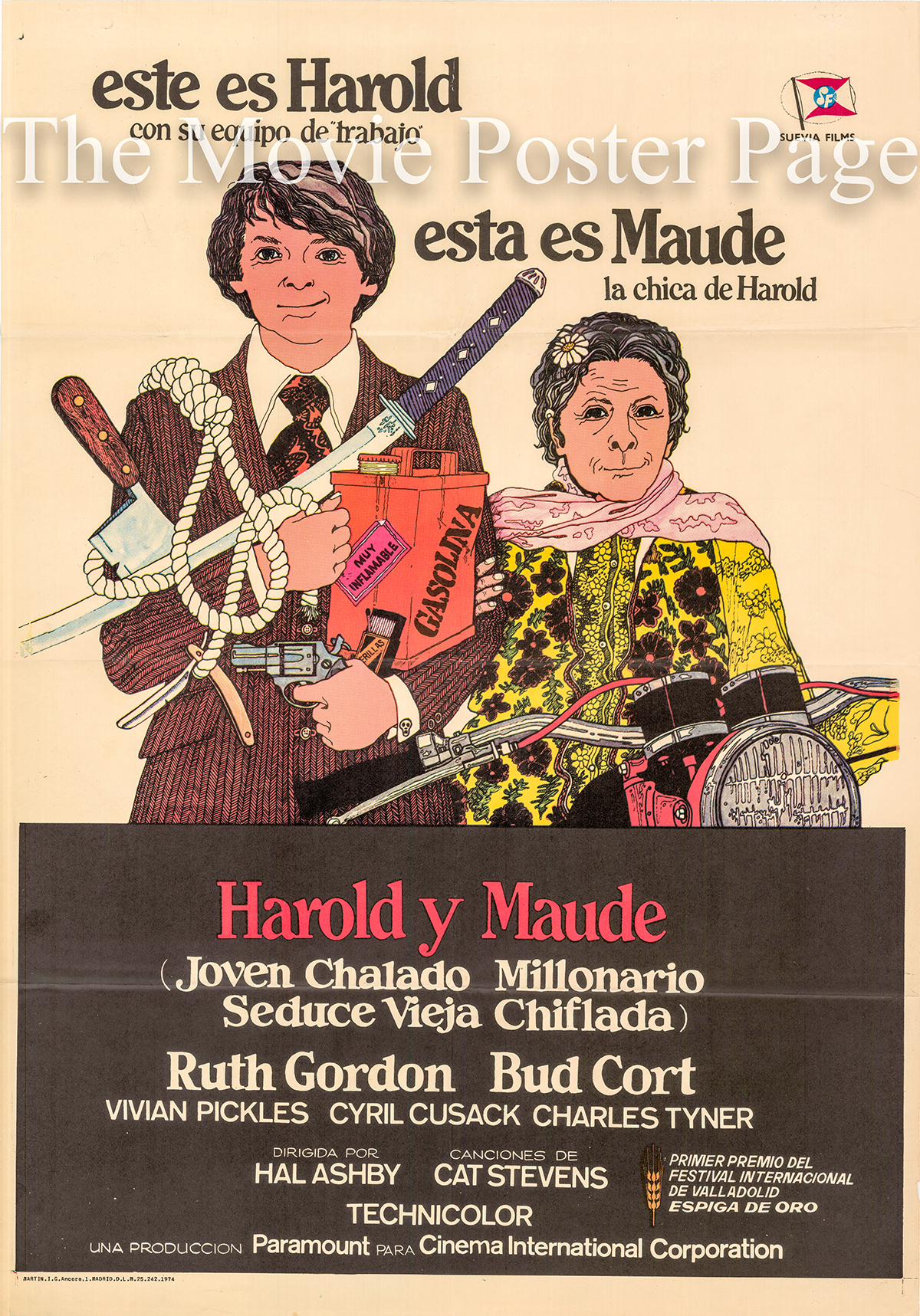 Pictured is a Spanish one-sheet promotional poster fo rthe 1972 Hal Asbby film Harold and Maude starring Ruth Gordon as Maude.