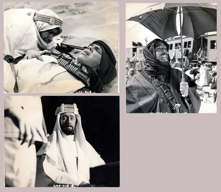 Pictured are three US promotional still photos from the 1962 David Lean film Lawrence of Arabia starring Peter O'Toole.