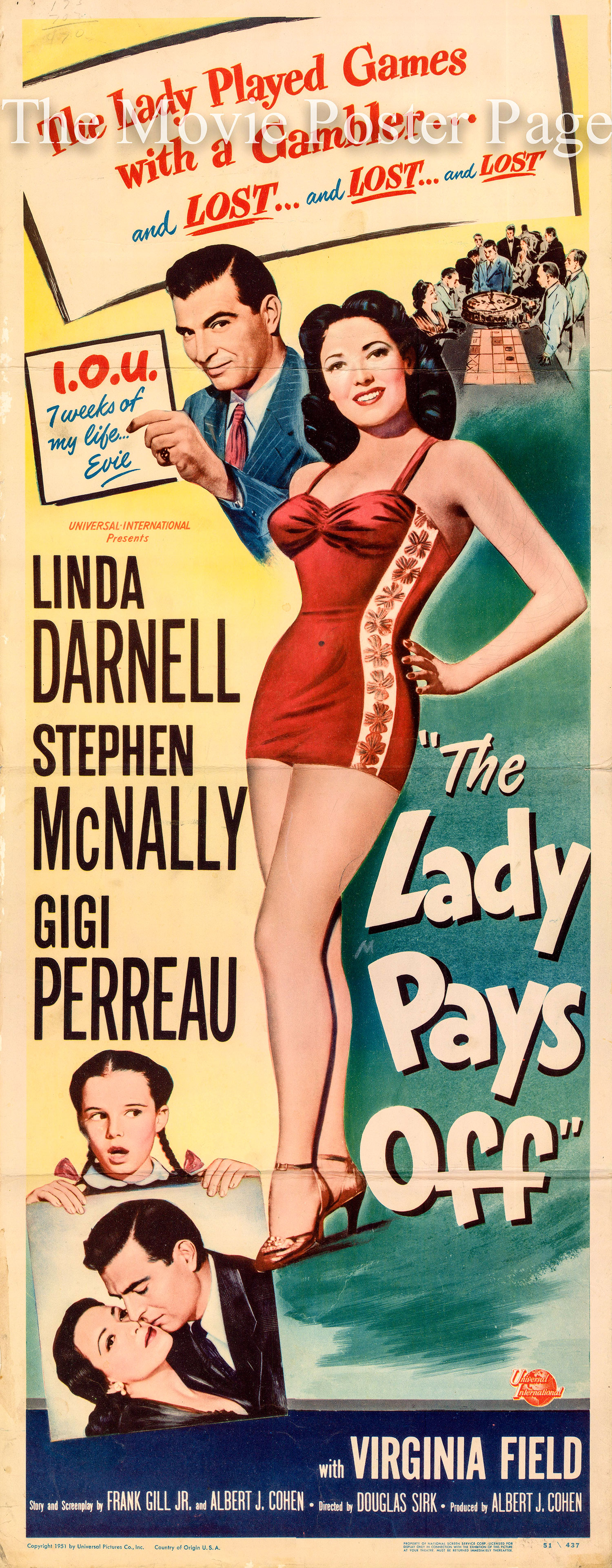 Pictured is a US insert promotional poster for the 1951 Douglas Sirk film The Lady Pays Off starring Linda Darnell.