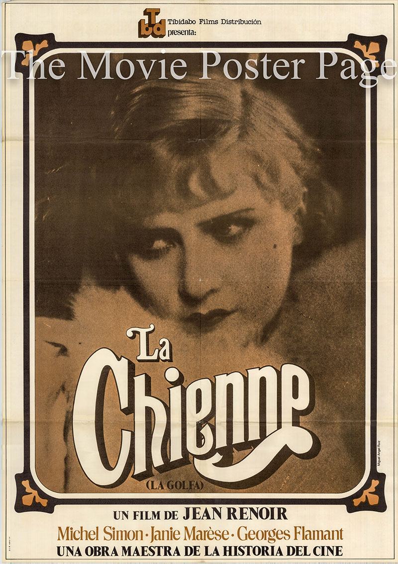 Pictured is a Spanish one-sheet for a 1977 rerelease of the 1931 Jean Renoir film La Chienne starring Michel Simon.