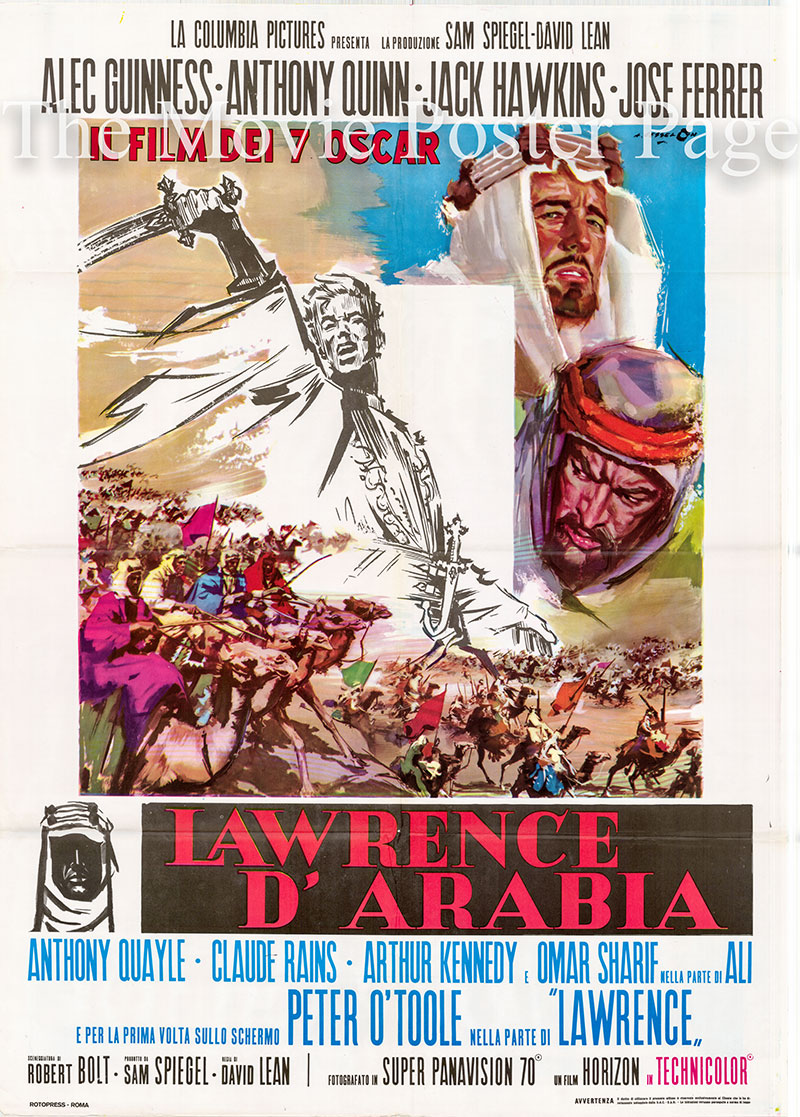 Pictured is an Italian two-sheet poster for a 1970s rerelease of the 1962 David Lean film Lawrence of Arabia starring Peter O'Toole as T.E. Lawrence.