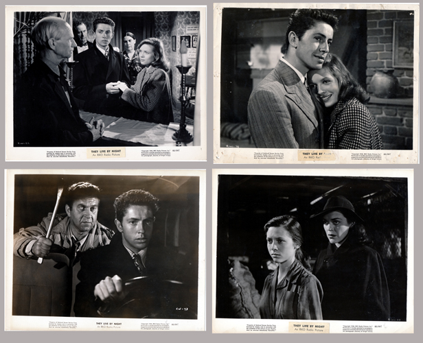 Pictured are four US promotional still photos from the 1948 Nicholas Ray film They Live by Night starring Farley Granger and Cathy O'Donnell.