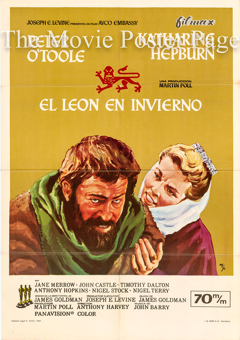 Pictured is a Spanish one-sheet poster forthe 1969 Anthony Harvey film Lion in Winter starring Katharine Hepburn.