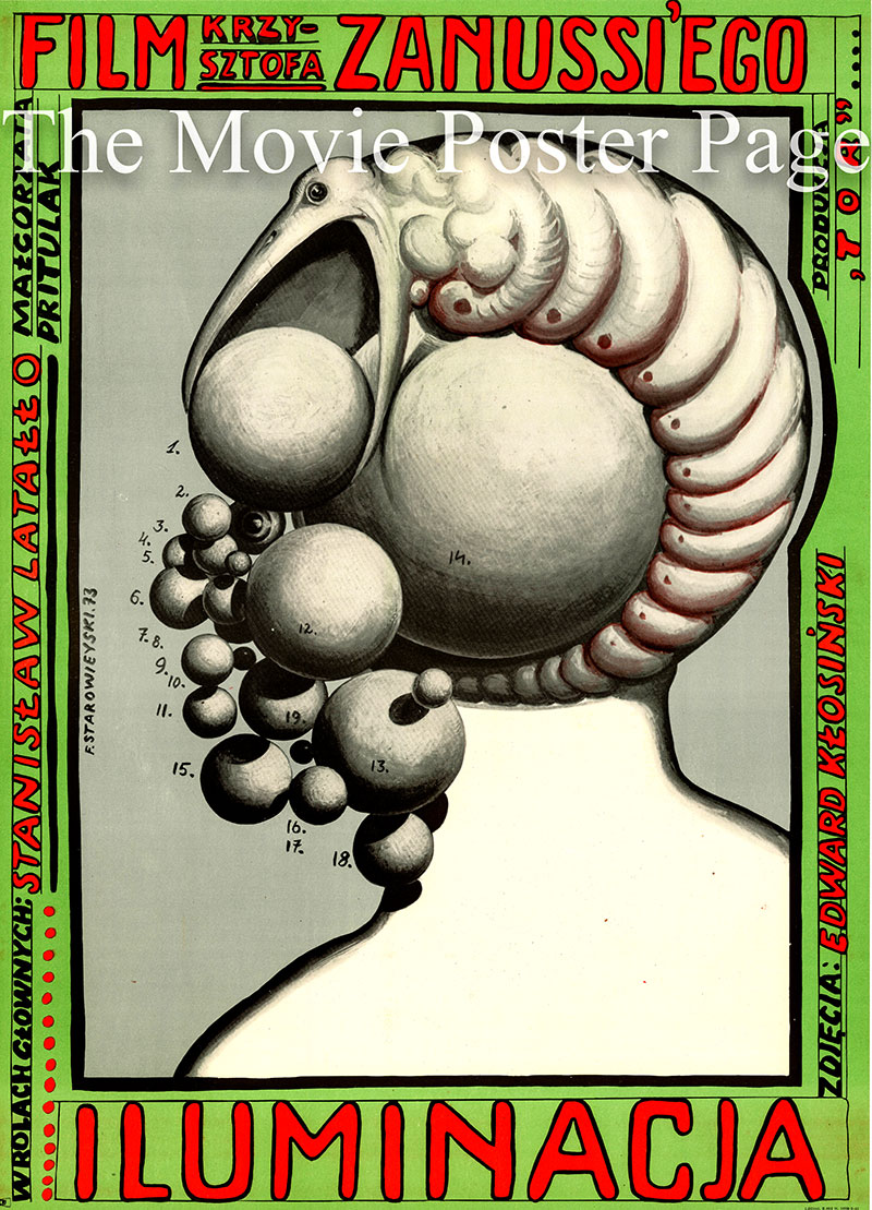 Pictured is a Polish one-sheet poster for the 1973 Krzysztof Zanussi film The Illumination starring Stanislaw Latallo.