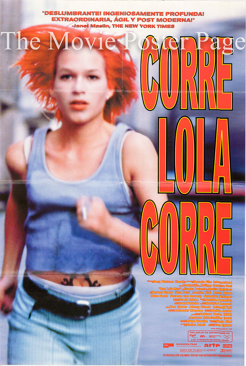 Pictured is a Spanish promotional poster for the 1998 Tom Tykwer film Run Lola Run starring Franka Potente as Lola.