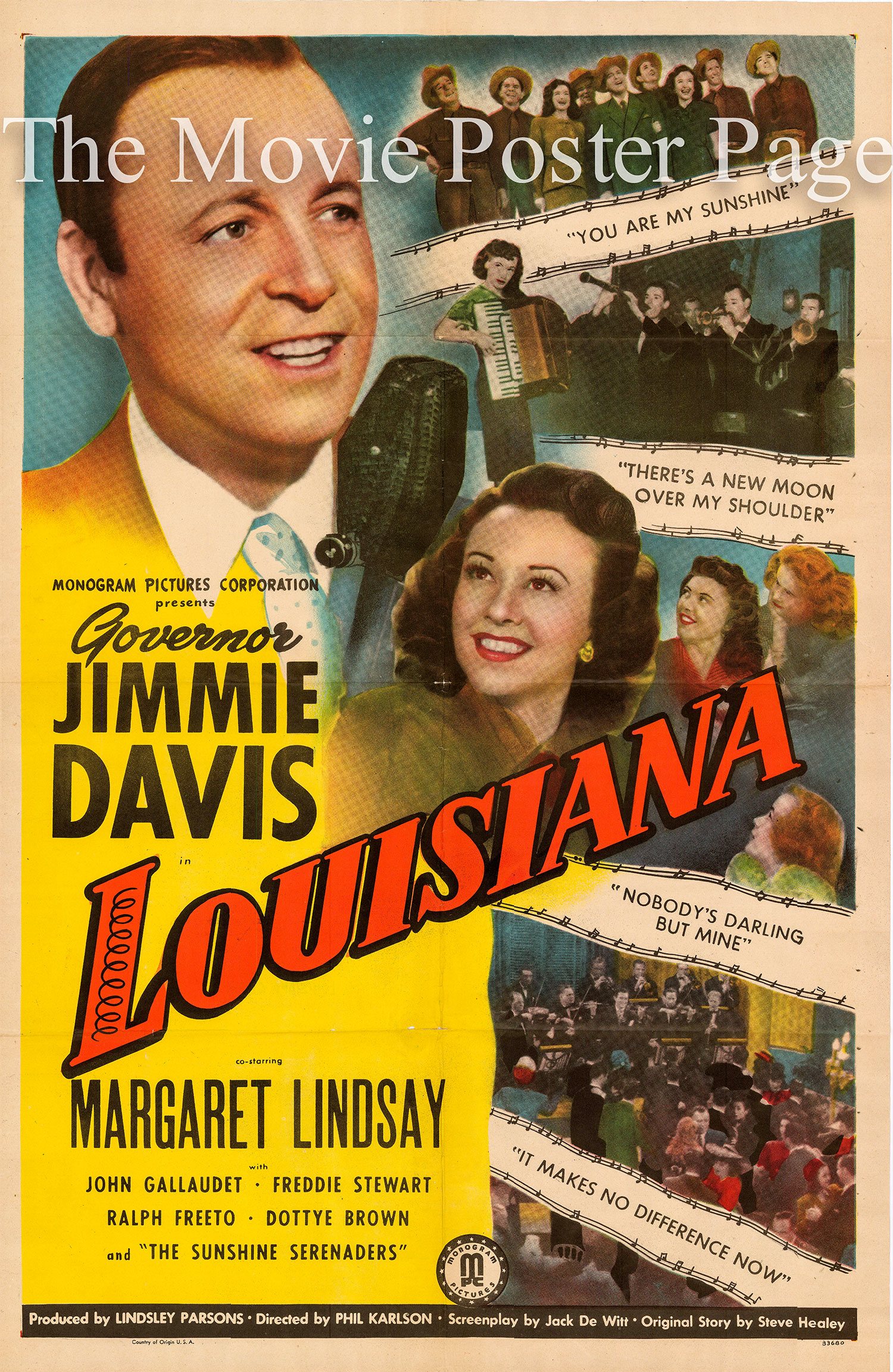 Pictured is a US one-sheet promotional poster for the 1947 Phil Karlson film Louisiana starring Jimmie Davis.