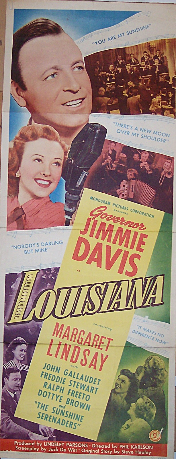 Pictured is a US insert promotional poster for the 1947 Phil Karlson film Louisiana starring Jimmie Davis.