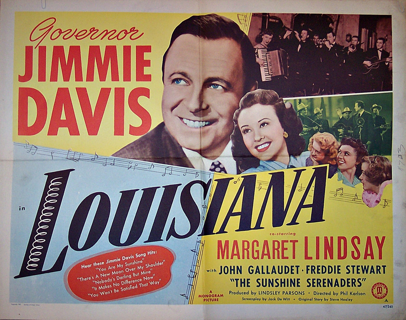 Pictured is a US lobby card for the 1947 Phil Karlson film Louisiana starring Jimmie Davis.