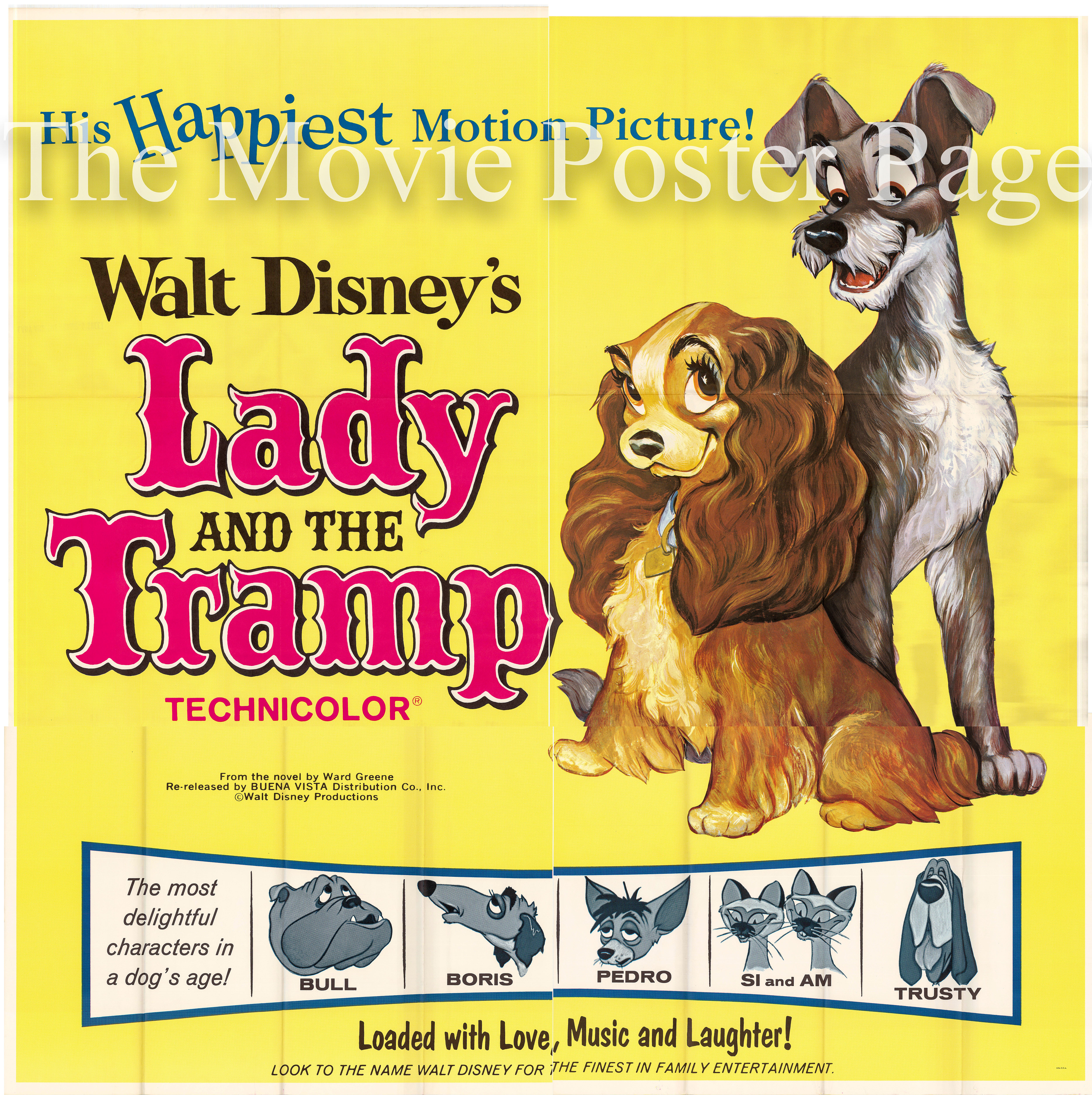 Movie Poster Collecting Lady And The Tramp R1962 Disney Animation Us Six Sheet