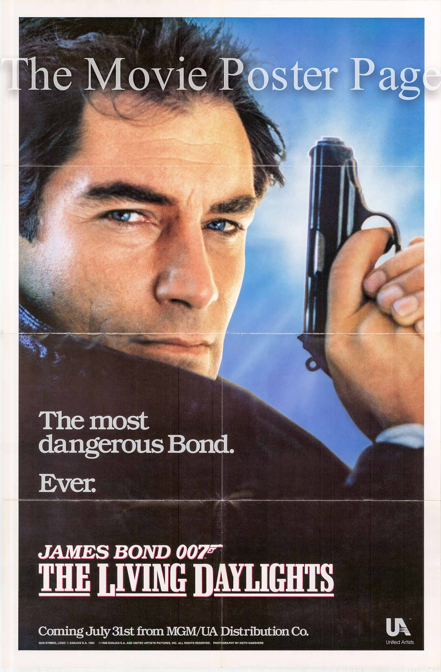 Pictured is an advance promotional one-sheet poster for the 1987 John Glen film The Living Daylights starring Timothy Dalton as James Bond.