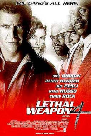 Pictured is a US one-sheet promotional poster for the 1998 Richard Donner film Lethal Weapon 4 starring Mel Gibson.
