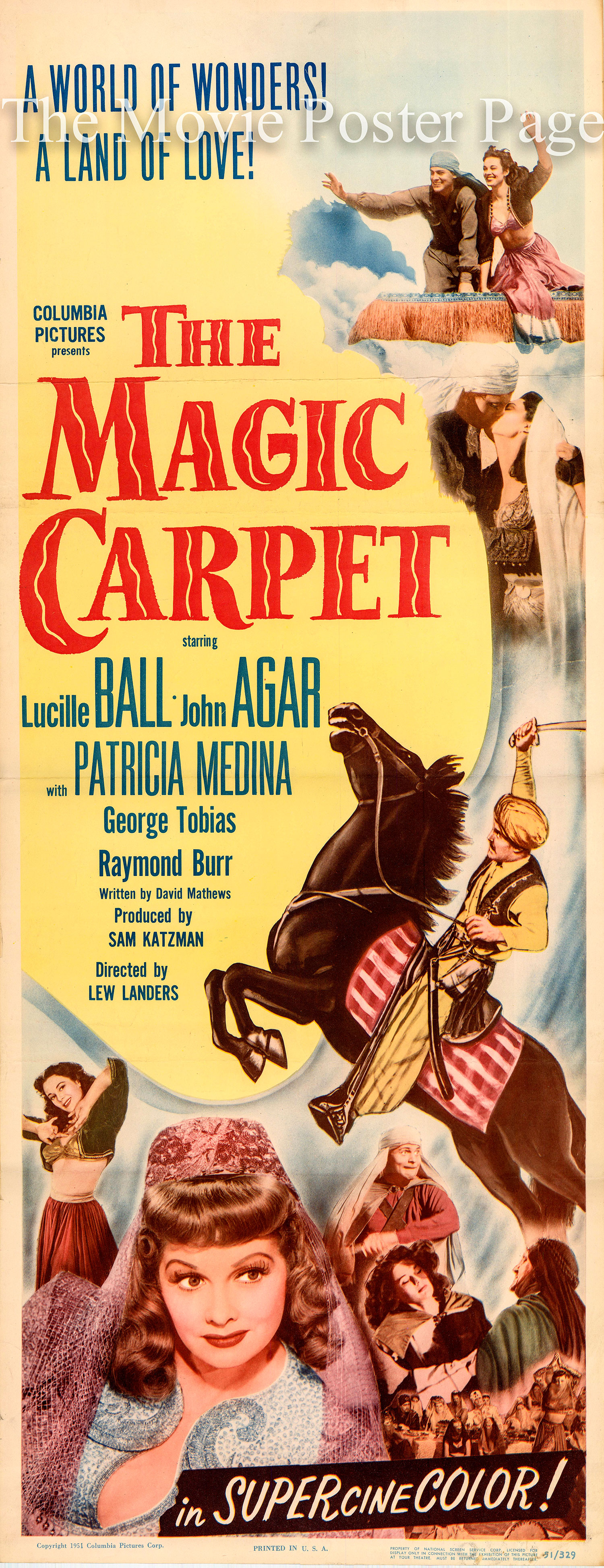Pictured is a US insert for the 1951 Lew Landers film The Magic Carpet starring Lucille Ball.