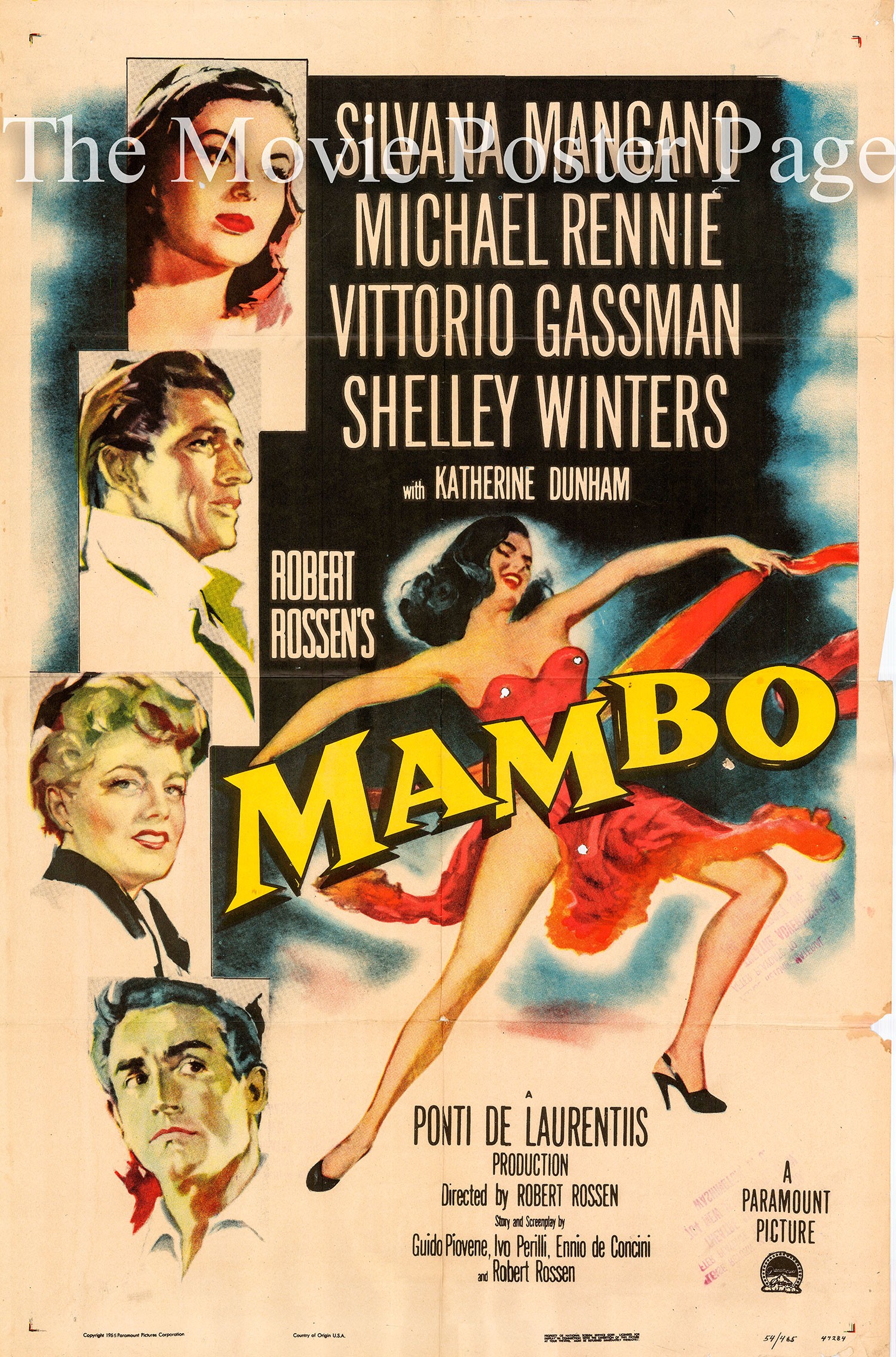 Pictured is a US one-sheet promotional poster for the 1954 Robert Rossen film Mambo starring Silvana Mangano.