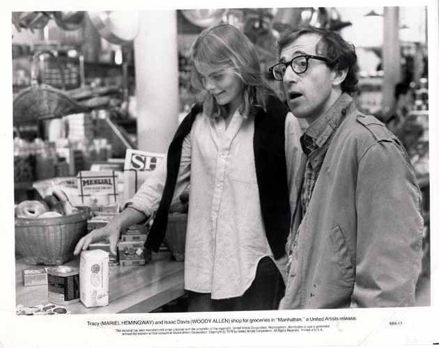 Pictured is a US promotional black-and-white still from the 1979 Woody Allen film Manhattan starring Woody Allen.