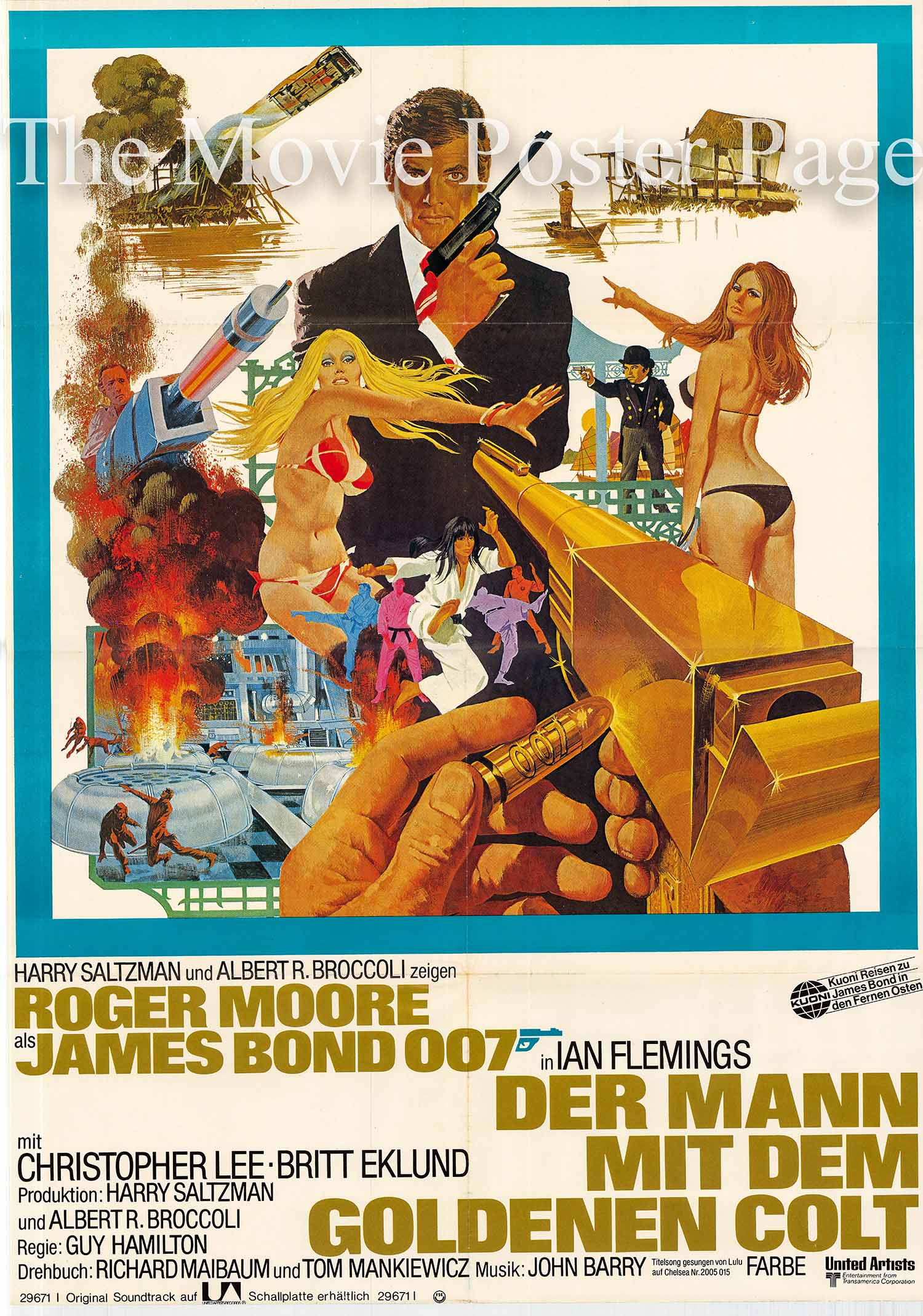 Pictured is a German one-sheet promotional poster based on a Robert McGinnis design made to promote the 1974 Guy Hamilton film The Man with the Golden Gun starring Roger Moore as James Bond.