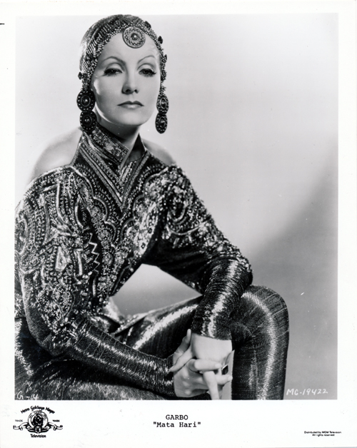 Pictured is a US promotional still photo from the 1931 film Mata Hari starring Greta Garbo.