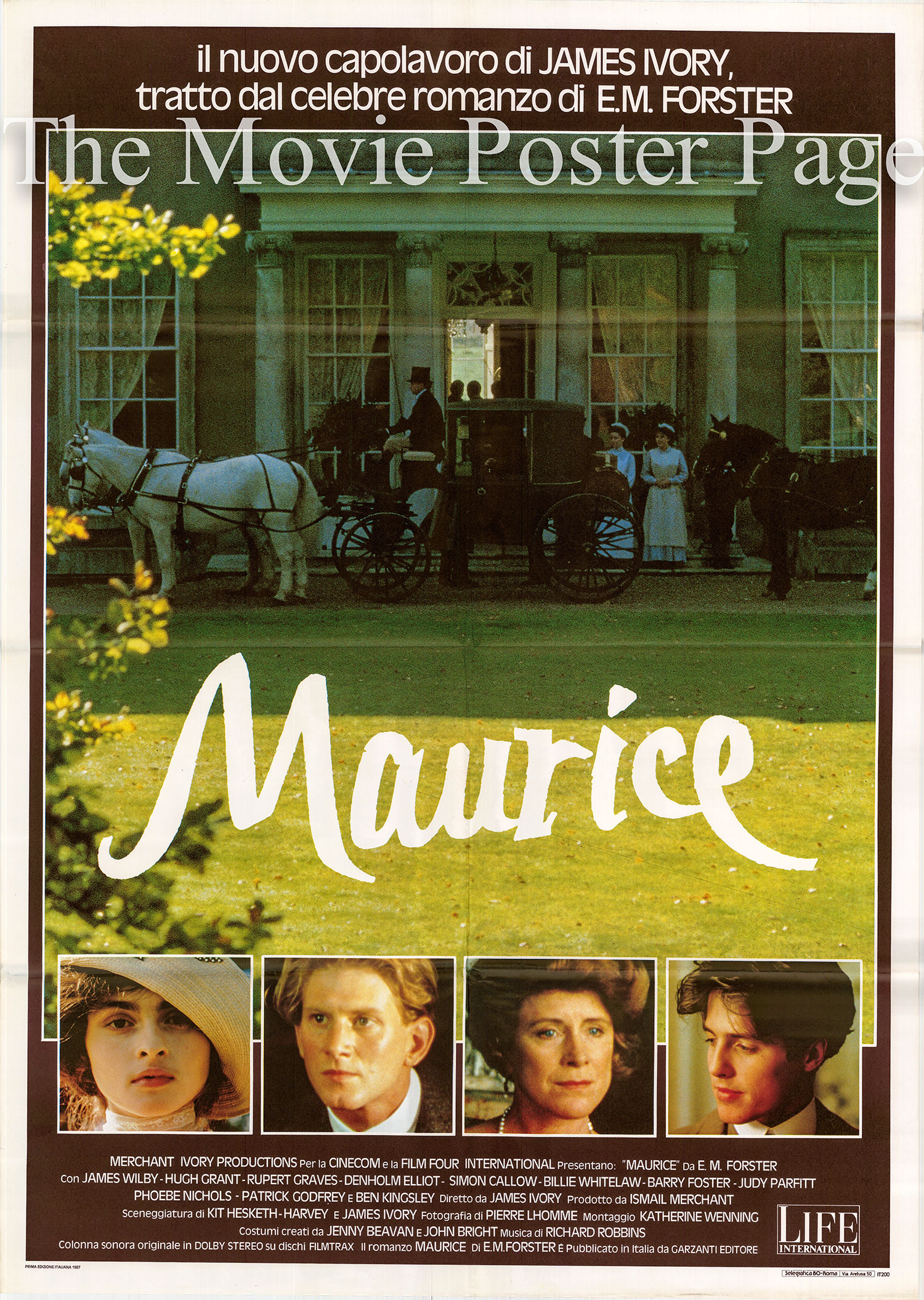 Pictured is an Italian two-sheet promotional poster for the 1987 James Ivory film Maurice starring Hugh Grant.