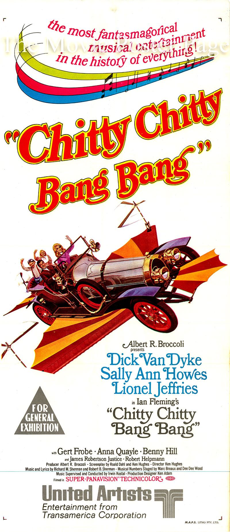 Pictured is an Italian day bill poster for the 1968 Ken Hughes film Chitty Chitty Bang Bang starring Dick Van Dyke as Caractacus Potts.