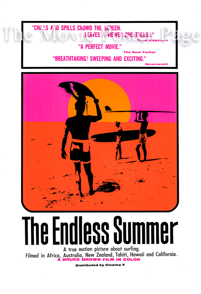 Pictured is a reprint of a promotional one-sheet poster for the 1966 Bruce Brown film Endless Summer starring Michael Hynson.