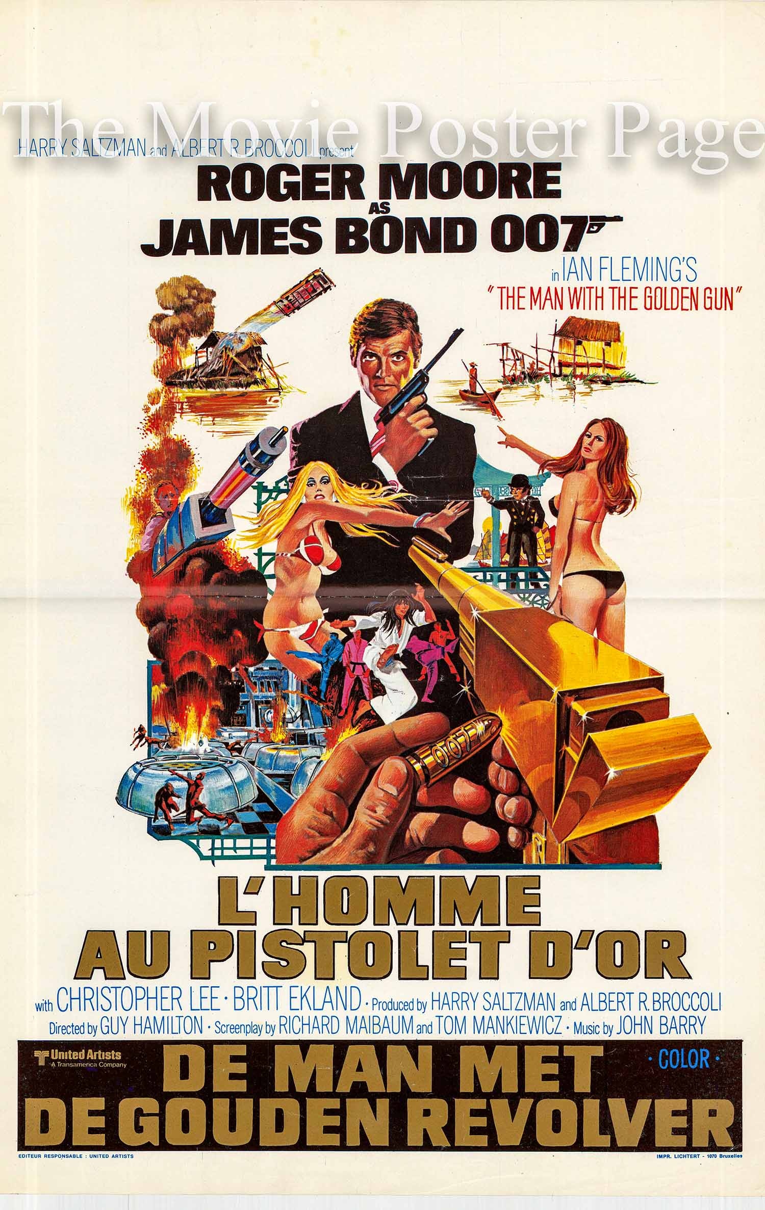 Pictured is a Belgian promotional poster made for the 1974 Guy Hamilton film The Man with the Golden Gun starring Roger Moore as James Bond.
