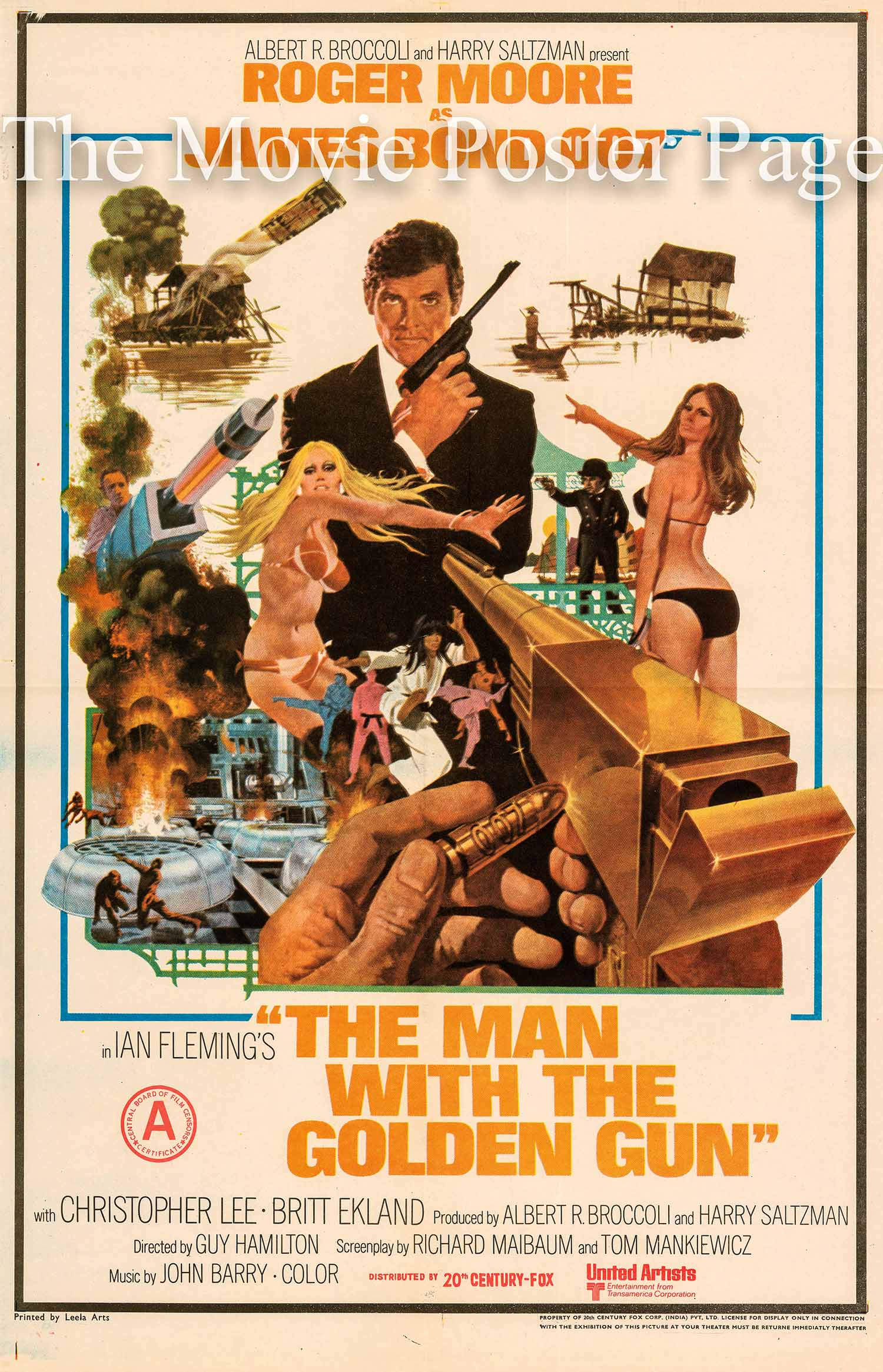Pictured is an Indian poster made to promote the 1974 Guy Hamilton film The Man with the Golden Gun, starring Roger Moore as James Bond.
