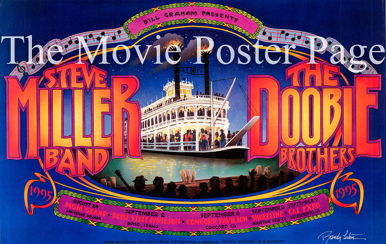 Pictured is a promotional concert poster for a 1995 concert series by the Steve Miller Band and the Doobie Brothers.