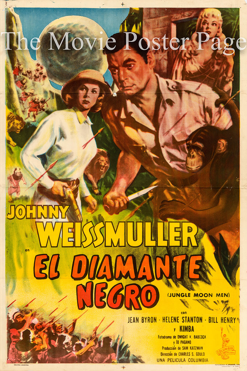 Pictured is an Argentine one-sheet poster for the 1955 Charles S. Gould film Jungle Moon Men starring Johnny Weissmuller.
